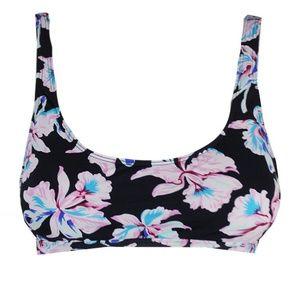 Bar III Black Pink Vintage Printed Bikini Top XL